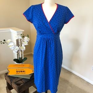 BODEN blue polka dot dress with red trim - 8R